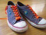 Converse with color striking shoe laces! by Foxeyes32