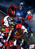 Taskmaster vs Captain America     colab by CDL113