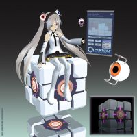 MMD GLaDOS+CUBE WIP by Trackdancer