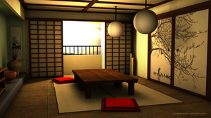 3D: Traditional Japanese room by niraeika