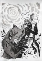 Edda - Tyr and Fenrir by DustyCandy
