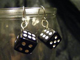 dice Earrings single black by BacktoEarthCreations