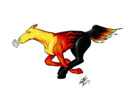 Flaming Mustang commish by Bee-chan