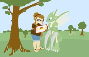 Me and Scyther in Johto by Laresa
