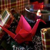 Red Paper Crane Christmas Ornament by BriMercedes