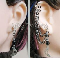 Silver and Black Moon Cartilage Chain Earrings by merigreenleaf