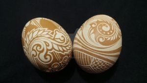 2 Hand Carved Chicken Egg by greborast