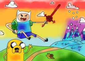 PAINTING TIME: FINN AND JAKE MATHEMATICAL RAINBOW by Cokedark11