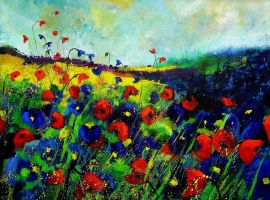Red and plue poppies by pledent