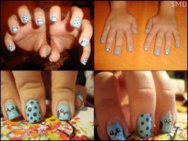 Adorable blue owl nail design by Niquesse