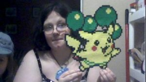 Flying Pikachu Perler fanart by SuzuriHeinze