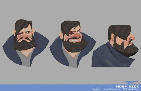 Cpt Ahab Expressions - Moby Dick by haohaohayashi