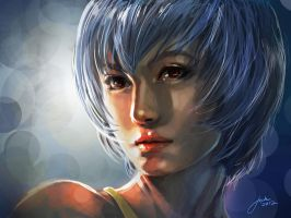 Rei Ayanami Speed Portrait by JophielS