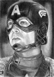Captain America Sketch Card 8-23-2013 by khinson