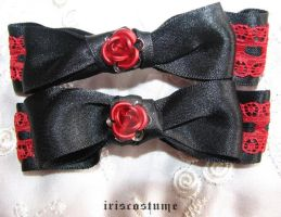 Goth Rosette clips by iriscostume