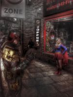 Dredd and Supergirl, at the comic shop by aboshell