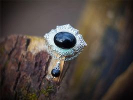Black Gothic Victorian Brooch with chains by Johanna-Ferrius