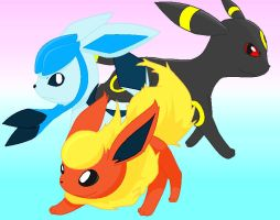 Glaceon, Flareon, Umbreon by Bluekiss131