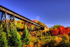 HDR Fall Train Bridge by Nebey