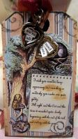 Cheshire Cat altered tag by Bohemiart
