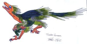 Troodon formosus feathered color by littledinosaurarms