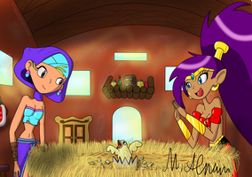 Paragon's Shantae Gallery Shantae_and_sky___the_magic_of_birth____by_paragonofsonamy-d5qffbr