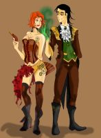 Steampunk Loki and Black widow by NakashiOroshu