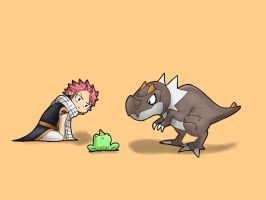 Natsu, Tyrunt and some frog thing by Wafflelopogus