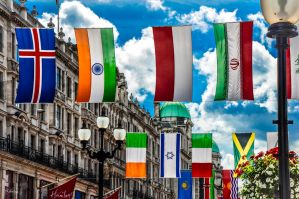 flags on London sky by Rikitza