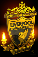 Liverpool LFC Logo Gold+Black Marble by kitster29