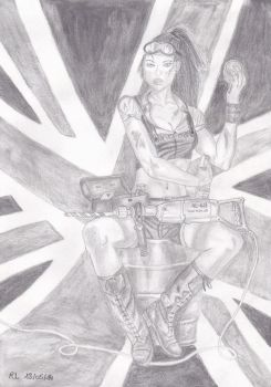 Woman and flag by Rocksane-Art
