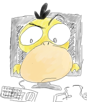 Psyduck comming out of Screen by rockingenton