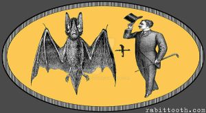 Steampunk / Victorian Bat plus Man logo tee design by Rabittooth