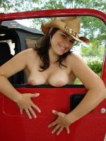 Topless cowgirl in her jeep by uswatcher