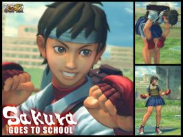 SSFIV-AE: SAKURA GOES TO SCHOOL by Ayiep27