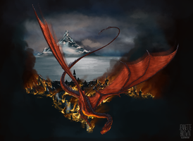 Smaug Terrorizes Laketown by sugarpoultry
