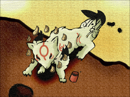 Okami- Attak at sunset by The-Cactus-Runner