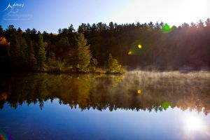 Autumn Fog Lake by Nebey