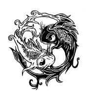 ying yang fish tatoo by saramira