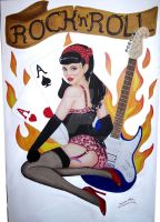 Pinup Girl on Canvas by Orava
