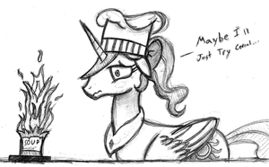 Celestia Attempts Cooking - Sketch by AncientOwl