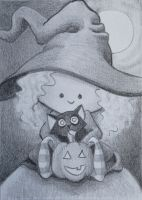ATC Halloween Witch by waughtercolors