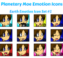Planetary Moe Emotion Icons: Earth Set #1 by ADark-Cold-World