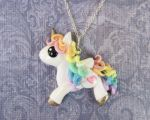 Pastel Rainbow Pegasus Necklace by DragonsAndBeasties