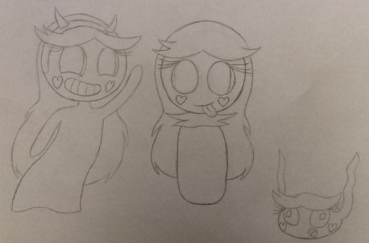 Ghost, Sweetling, and blob Star Butterfly  by BunnyGirlCedrenna77