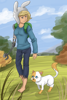 Fionna the human and cake the cat by jujulmil