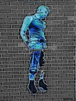 Blue punk on brick wall by M-L-K-T-69