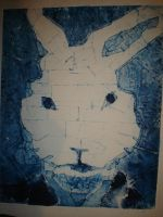 Blue monotone collagraph print by Theoretical-Abyss