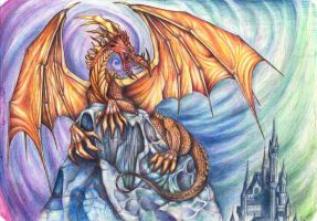 Dragon and old Castle by Demonheart