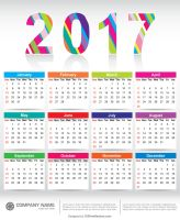 Colorful 2017 Calendar Printable Template by 123freevectors